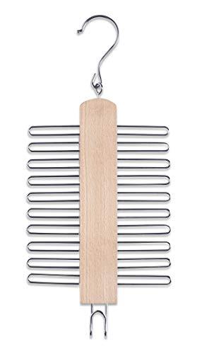 Zeller 17120 Krawattenhalter, Buche/Metall, ca. 17 x 39 cm