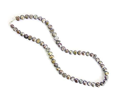 Tibetische Silber-Schwarze Perlen kette mit Süßwasser-Perlen, 45,7 cm lang, handgefertigt von Artisans, modische Designer-Halskette mit Anhänger für Damen und Mädchen, modernes Design -
