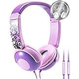 Mumba Kinder Kopfhörer mit Begrenzter Lautstärke, Over Ear Jugendliche Headset mit Mikrofon, Leicht Faltbare Sportkopfhörer für Jungen und Mädchen (Lila)