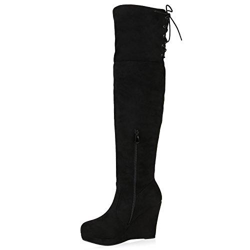 Stiefelparadies Gefütterte Damen Stiefel Overknees Strass Keilabsatz Schuhe Wildleder-Optik Wedges Boots Flandell Schwarz Brooklyn
