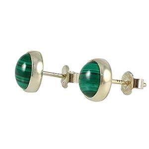 Damen Ohrringe Runde Natürlicher Grüner Malachit 8mm Handgemachte Ohrstecker 925 Sterling Silber, Geschenk zum Valentinstag