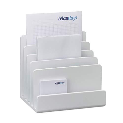 Relaxdays Dokumentenhalter Bambus, Briefablage, 5 Fächer Ordnungssystem, Schreibtisch Organizer HBT 23x24,5x20,5cm, weiß, Standard