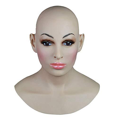 XSWE Top-Qualität Realistische Silikon-Maske Weibliche Masken Halloween Weihnachts Masken Angel Face Cosplay Transgender Shemale Crossdress (Halloween Realistische Masken Für)