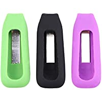 VORCOOL Soporte para Fitbit One de Silicona Accesorios de Reemplazo Magnéticos Actividad Inalámbrica Pulsera Sleep Tracker 3 Piezas (Verde Negro Púrpura)