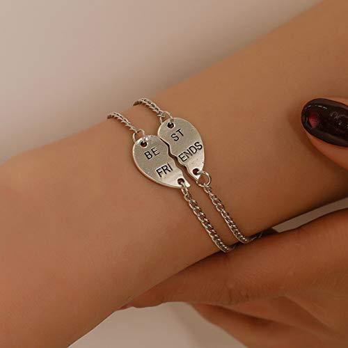 Imagen de gwendoll pulsera best friend no importa donde se divida pulsera de doble brazalete de corazón roto set pulsera de aleación de regalo de amistad alternativa