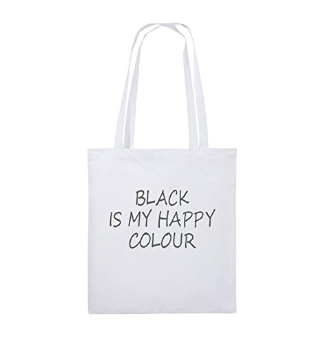 Comedy Bags - BLACK IS MY HAPPY COLOUR - Jutebeutel - lange Henkel - 38x42cm - Farbe: Schwarz / Pink Weiss / Grau