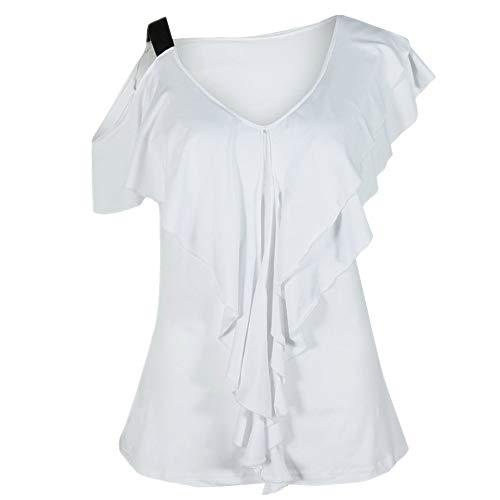 YEZIJIANG Damen Sexy V-Ausschnitt Schulterfrei Flounce Oberteil Damen Off Shoulder Top Sommer Casual Kurzarm Patchwork Patchwork T-Shirt Freizeit Asymmetrisch Bluse Tees -