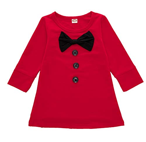 Anywow Kleinkind Baby Mädchen Bowknot Prinzessin Shift Kleid Langarm Rock Party Red A-Linie Kleid 0-4J