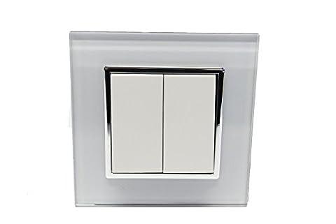 Design Glas Panel Serienschalter Schalter Lichtschalter weiß von Livolo für 2 Lampen
