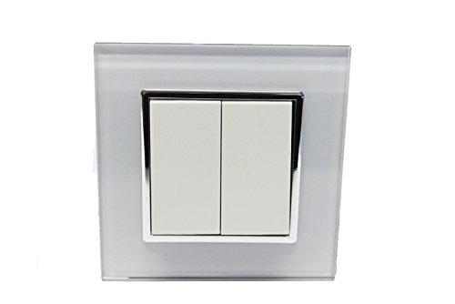 Preisvergleich Produktbild Design Glas Panel Serienschalter Schalter Lichtschalter weiß von Livolo für 2 Lampen