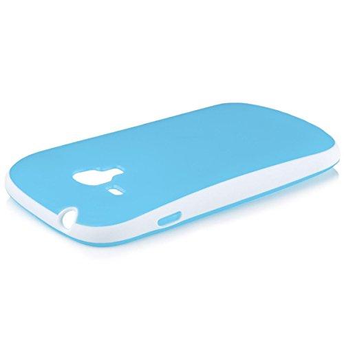 iCues Samsung Galaxy S3 MINI |  Bicolor TPU Case Lila | [Display Schutzfolie Inklusive] Silikon Gel Schutzhülle Hülle Cover Schutz Blue