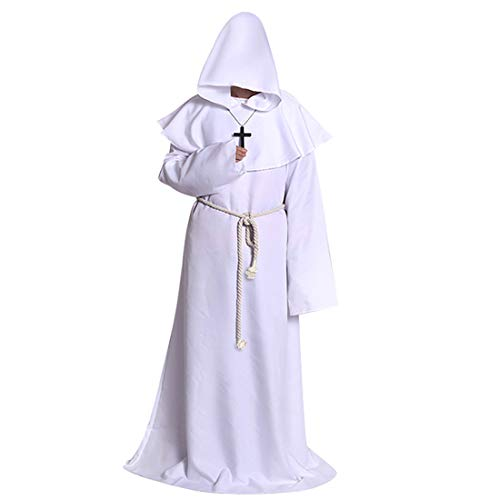PUDDINGY® Halloween Cosplay Kostüm Mittelalter Mönchskleidung Mönchsrobe Zaubererkostüm Priesterrobe Passen,White,L