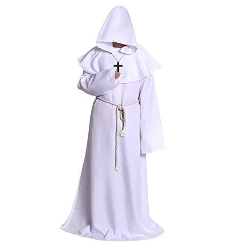 Hooded Robe Renaissance Priest Friar Halloween Costume White Medium ()