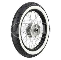 Preisvergleich Produktbild Komplettrad - VORNE - 1,5x16 Zoll - Alufelge schwarz eloxiert und poliert, Chromspeichen - MITAS-Weißwandreifen MC2 montiert