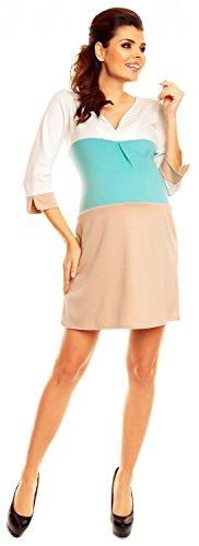 Zeta Ville Maternité - robe de grossesse color block poches - femme - 303c Menthe & Beige