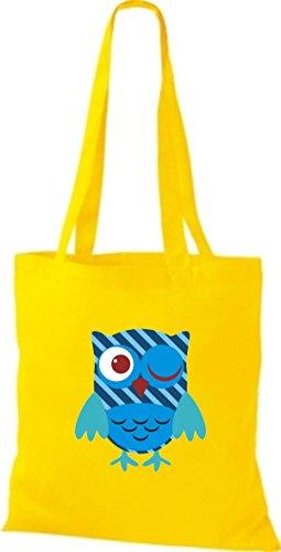ShirtInStyle Jute Stoffbeutel Bunte Eule niedliche Tragetasche mit Punkte Owl Retro diverse Farbe, gelb