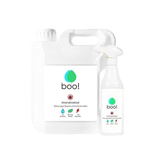 boo! Insektenspray | Insektenschutz als Spray gegen Mücken, Milben, Bettwanzen etc | Insektizid | Pflanzlicher Wirkstoff | 5,5 Liter