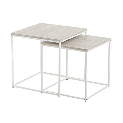 LOLAhome Conjunto de mesas Nido de Metal y Madera nórdicas Blancas