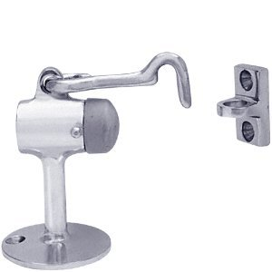 C.R. LAURENCE F823 CRL Satin Chrome Finish Brass Floor Mounted Heavy Duty Door Stop with Hook and Holder by C.R. Laurence