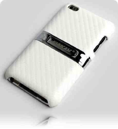 Preisvergleich Produktbild Schutzhülle für Apple iPod touch 4G (Modelle 8GB / 32GB / 64GB), ausklappbarer, verchromter Ständer aus Metall, weiß, inkl. 2 Displayschutzfolien