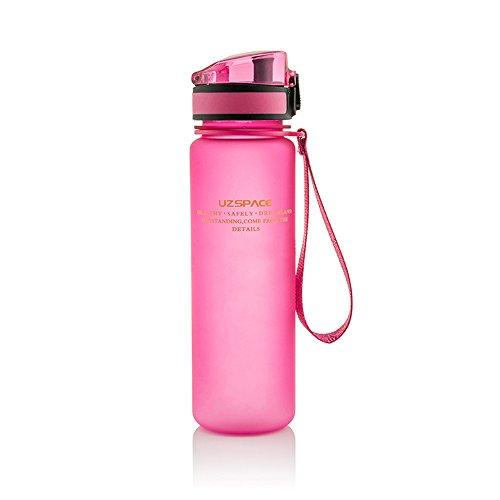 Preisvergleich Produktbild Uzspace Sporthallen Schulen Tritan Wasserflasche Bpa-Frei Wandern Radwandern Wasserflasche Mit Flip-Top Deckel - rosa - 350ml
