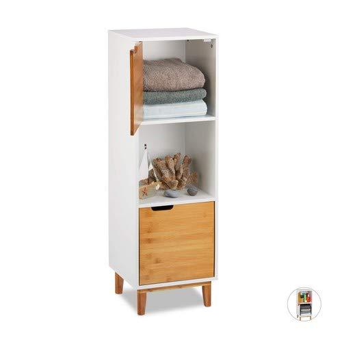 Relaxdays Standregal weiß, Beistellschrank aus MDF und Bambus, Wohnzimmerregal, skandinavisch, HBT 101x32x30 cm, White, 3 Ablagen