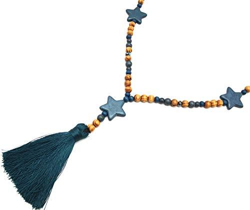 Oh My Shop CL2188F Halskette mit Perlen aus Holz und Marmor-Effekt mit DREI Sternen und Bommel, Entenblau