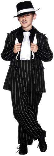 Jungen Kinder 1920s Jahre 20s Zoot Anzug Gangster Gangsta Mafia Bugsy Malone Kostüm Kleid Outfit - Schwarz/weiß, 10-12 - Bugsy Malone Kostüm