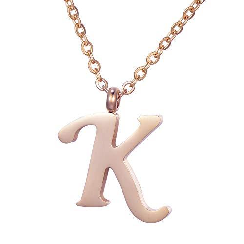 Morella Damen Halskette mit Buchstabe K Anhänger Edelstahl Rosegold in Schmuckbeutel