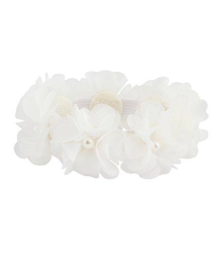 SIX Haarschmuck: Elastisches Haargummi mit weißen Textil-Blüten und Perlen, perfekt für Dutt-Frisuren, für Hochzeit, Ballett, festliche Anlä (485-214)