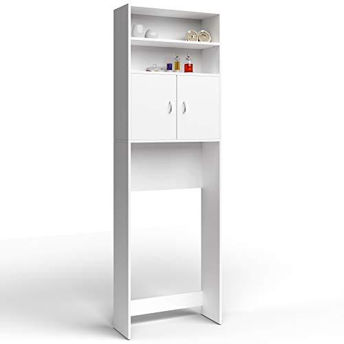 Deuba Badschrank Waschmaschinenschrank Weiß 2 Türen 195 x 63 x 20cm Hochschrank Badezimmerschrank Waschmaschine Überbau Bad Regal