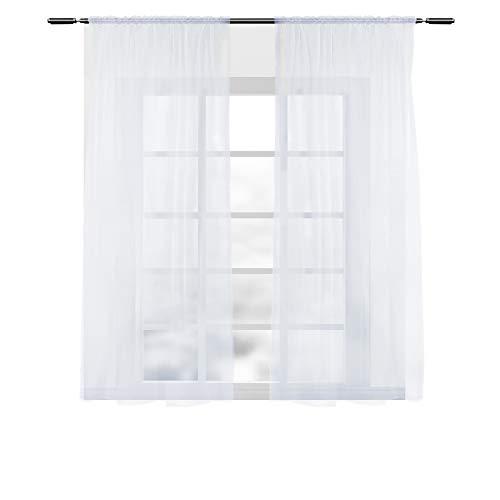 WOLTU VH5516ws-2, 2er Set Gardinen Vorhänge transparent mit Kräuselband Stores für Schiene,...