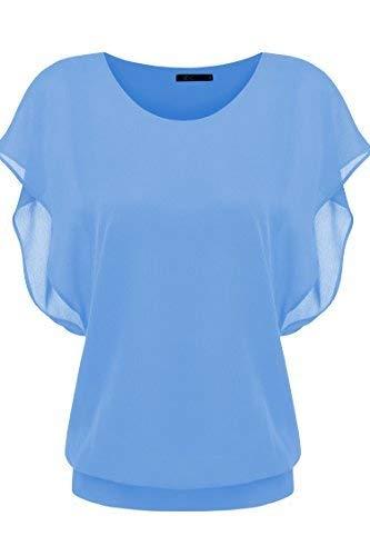 Zeagoo Women's Loose Casual Short Sleeve Chiffon Top T-Shirt Blouse, SkyBlue, Medium