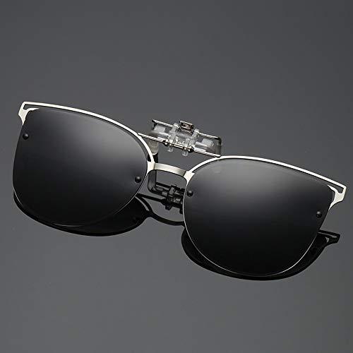 WDDYYBF Sonnenbrillen, Polarisierte Sonnenbrille Frauen Einrasten In Der Nähe Gesichtet Fahren Night Vision Linse Kurzsichtigkeit Brillen Clip Damen Flip-Up-Brille Schwarz