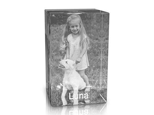 VIP-LASER 2D Gravur Glas Kristall Quader im Hochformat L mit Dem Foto von Deinem Hund. Dein Wunschfoto für die Ewigkeit Mitten in Glas! Groesse L = 60x40x40mm -