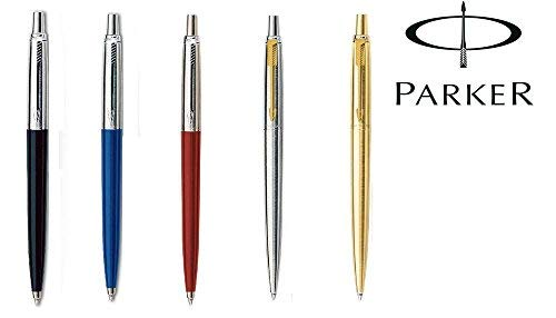 100% Echter Notizheft Kugelschreiber aus Edelstahl, schwarz, blau, rot, Körper PARKER BLACK JOTTER WITH GOLD TRIM