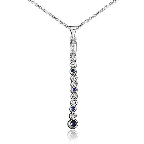 Argent sterling 925Saphir bleu cristal Barre verticale Pendants Collier Pendentif en forme de Y Chaîne