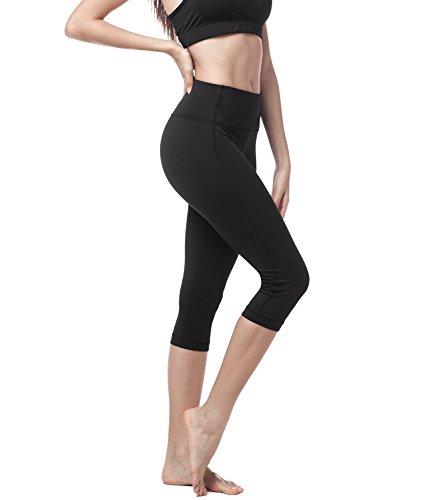 LAPASA Legging avec Poches Capri/Pantacourt de Sport Femme Coupe Genoux Amincissant - Yoga Fitness Jogging Gym L02 - Noir - Taille 36/S