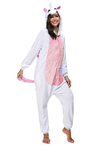 Pigiama Unicorno Cosplay Intero Unisex Animale Costume Halloween Carnevale Tuta Attrezzatura Festa Party Sleepwear- Mescara (XL, Rosso)