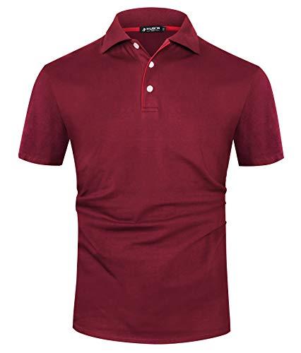 Kuson Herren Poloshirt Kurzarm Patchwork Sommer T-Shirt Men's Polo Shirt Baumwolle (XXL, Weinrot) -
