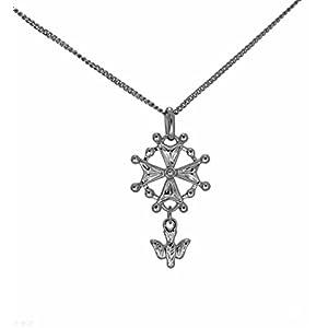 Schmuckset aus Silber massiv rhodiniert Anhänger Hugenottenkreuz Protestantische und Kette 50cm gemeinsam in seiner Sets Geschenk für Herren
