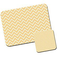 Moderne Kollektion Geometrische Designs/Mauspad und Untersetzer Set White & Orange Zig Zag Lines - Office Line Kollektion