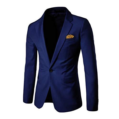 Luckycat Anzugjacke Herren Slim fit einfarbig Sakko für Hochzeit Party Abschluss Business Herren Slim Fit Sakko V Ausschnitt Anzugjacken Eins knopf Blazer mit Vordertasche (Nadelstreifen-blazer)