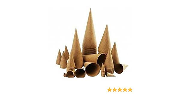 Papier Mache Boxes 3 Assorted Paper Mache Cones to Decorate 20 25 /& 30cm Tall