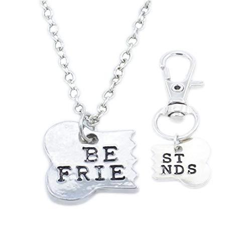 SMILEQ® 2 Stücke Beste Freunde Passende Halskette & Dog Tag Clip Knochen Schlüsselanhänger Freundschaft (2 Pcs, Silver)
