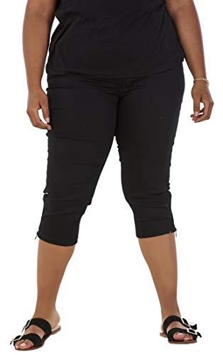 DC Jeans Damen Caprihose mit 3/4-Länge - Stretchmaterial - Taschen & Reißverschluss am Saum - für kurvige Frauen - Übergröße - Schwarz - 44