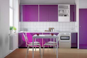 """Alu-Dibond-Bild 110 x 70 cm: \""""Kleine Küche mit lila Küchenzeile\"""", Bild auf Alu-Dibond"""