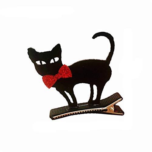 Randymank Lustige Cosplay Dekor Haarspange Halloween Party Kinder verkleiden sich Stereo Barrette Bat Kürbis Witch Cap Haarspange (Fliege schwarze Katze)