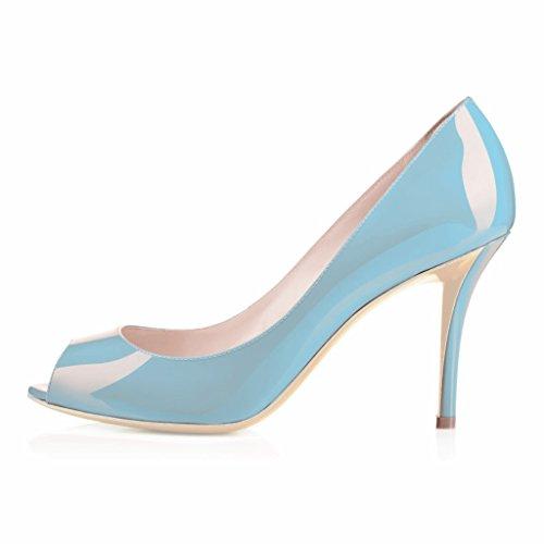 EDEFS Femmes Artisan Fashion Sandales Classiques Elégants Bout Ouvertss Bureau Habillé Chaussures à Talon de 85mm Bleu