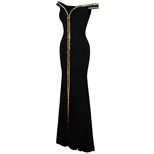 BINGQZ Damen/Elegant Kleid/Cocktailkleider Damen Schulterfrei Abendkleider Gold Pailletten Stretchy Partykleid Schwarz 398
